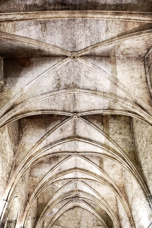 vaulted ceiling: Gothic ceiling with grunge effects.  Interior of Papal Palace, Avignon, France.