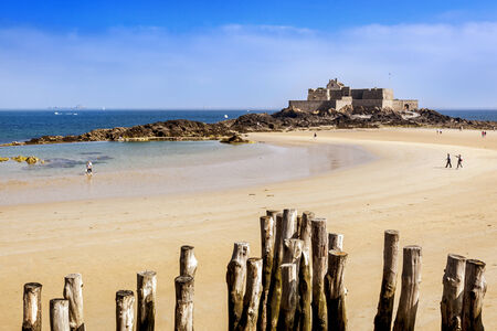 st malo: Fort National in Saint Malo, France, on a bright summer day.