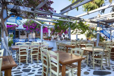 bougainvillea: Greek taverna on island of Mykonos.