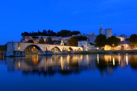 avignon: Le Pont DAvignon, France.  Night view. Stock Photo
