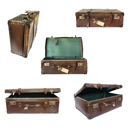 open suitcase: Vintage suitcase collage on white.  Open, closed, front and side views.