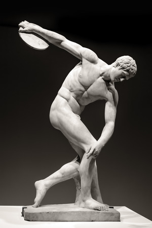 statues: Marble statue of the Discus-Thrower.  Roman copy of original Ancient Greek bronze by Myron. Editorial