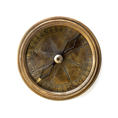 tarnished: Compass isolated on white.  Tarnished brass.