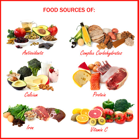다양한 영양소, 화이트에 격리 각각의 음식 소스를 보여주는 차트. 산화 방지제를 포함, 복합 탄수화물, 칼슘, 단백질, 철, 비타민 C.