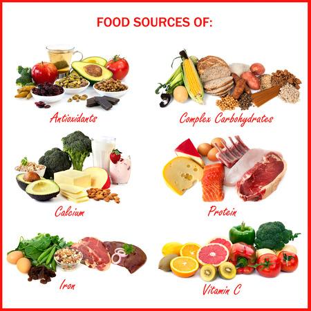 nutrientes: Gr�fico que muestra las fuentes de alimentos de diversos nutrientes, cada uno aislado en blanco. Incluye antioxidantes, carbohidratos complejos, calcio, prote�nas, hierro y vitamina C. Foto de archivo