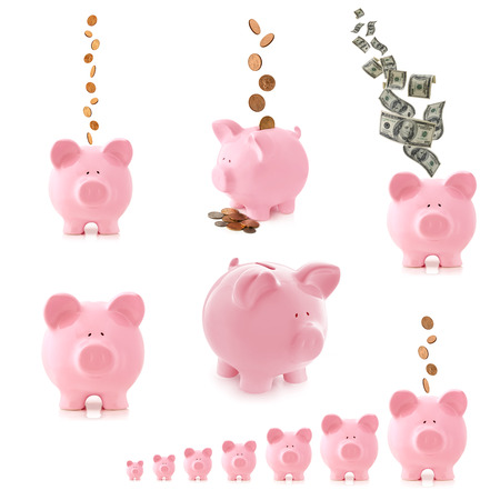 bank notes: Collection of pink piggy banks, isolated on white.  With money, coins and notes.