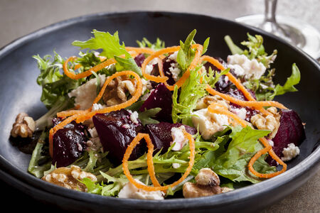 feta cheese: Beetroot salad with feta cheese, walnuts and carrot.