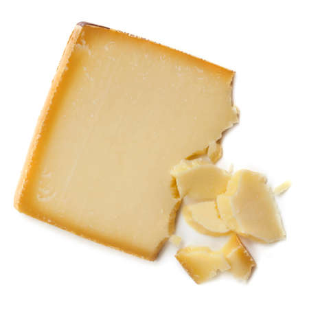 gruyere: Gruyere cheese, isolated on white background.