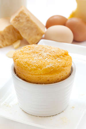 gruyere: Cheese souffle with ingredients.  Eggs, milk, parmesan and gruyere.