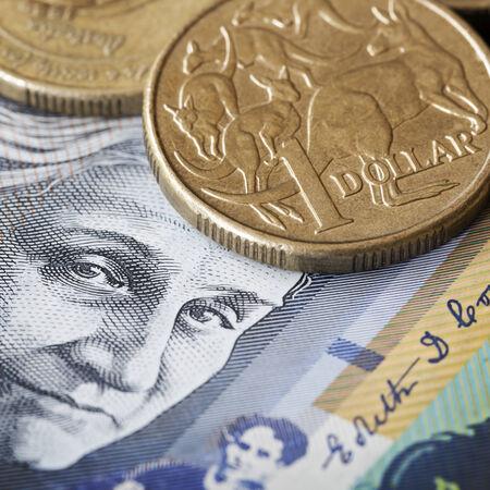 australian money: Australian money.  One dollar coin with kangaroos, over face of Edith Cowan.
