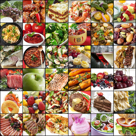 Big collage of food images.  Variety of meals, meat, fish, fruits, vegetables, dairy, salads, desserts.