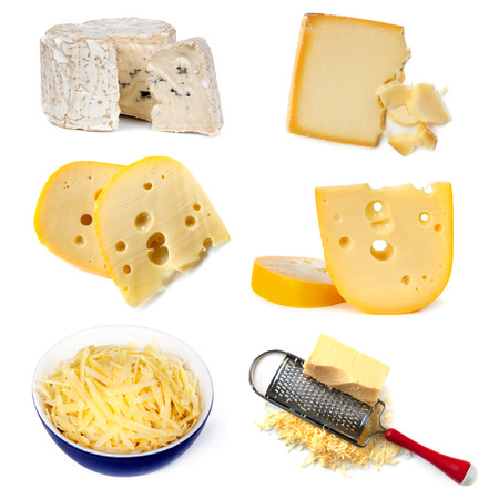the grater: Collection of cheeses, isolated on white.