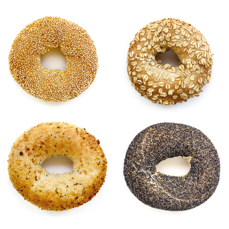 overhead view: Bagels collection isolated on white.  Overhead view.