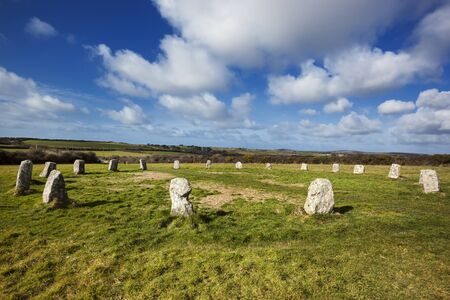 stone circle: Merry Maidens neolithic stone circle in Cornwall, England. Stock Photo
