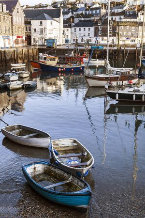 cornish: Mevagissey fishing habour in Cornwall, England. Stock Photo