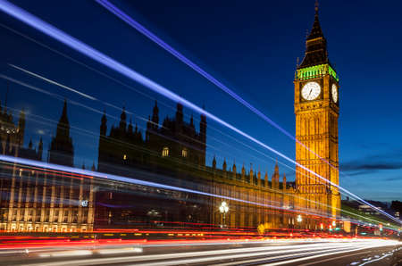 Big Ben by night.  With light trails.