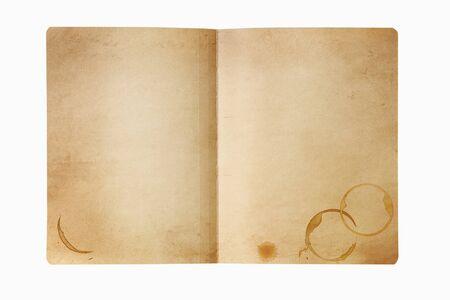 manchas de cafe: Grunge carpeta de manila, abierto, con manchas de caf�. Aislado en blanco. Foto de archivo