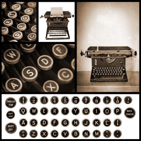 the typewriter: Colecci�n de im�genes de m�quina de escribir de la vendimia. Foto de archivo
