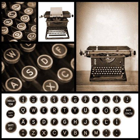 maquina de escribir: Colecci�n de im�genes de m�quina de escribir de la vendimia. Foto de archivo