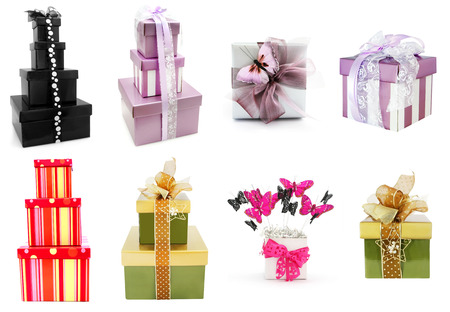fancy box: Gift boxes collection, isolated on white background.