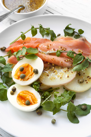 wholegrain mustard: Smoked salmon salad with egg, potato, watercress and capers.  With wholegrain mustard dressing.