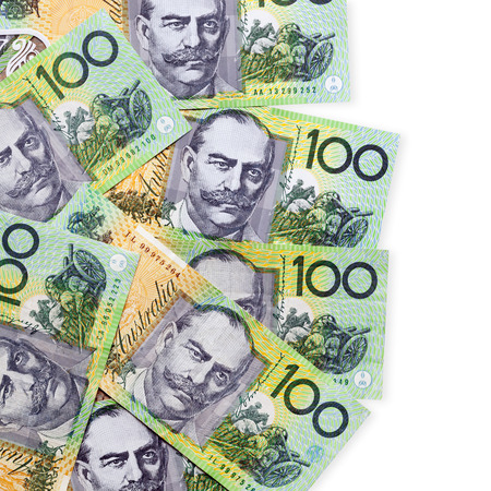 Australian one hundred dollar bills over white background.