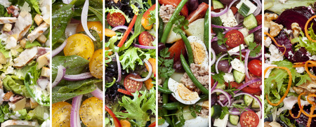 Collage of healthy salads.  Includes chicken caesar, spinach, garden, nicoisse, greek and beetroot and walnut. Stock Photo