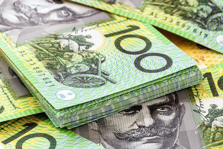 australia: Australian one hundred dollar bills.