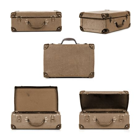 collage: Vintage suitcase in different views, isolated on white.  Sepia tone. Stock Photo