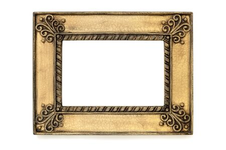 gilded: Gilded grunge picture frame isolated on white.