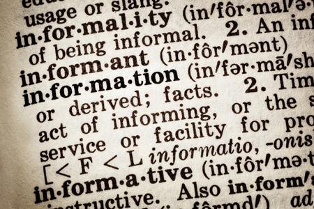 definicion: Definición del diccionario de palabra información.