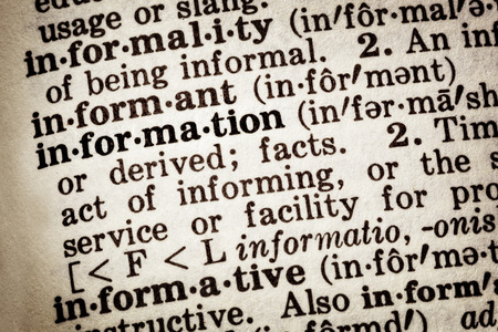 data dictionary: Dictionary definition of word information. Stock Photo