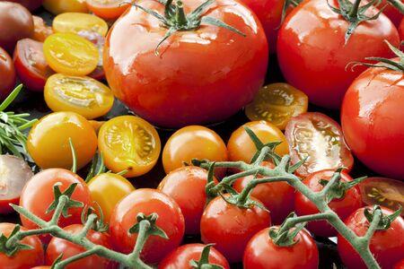 varieties: Tomato varieties on black iron.