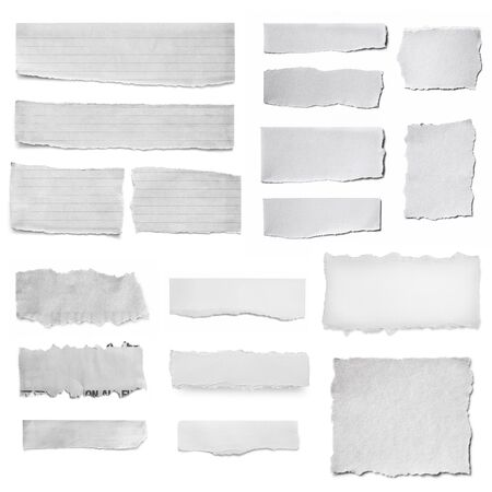 Paper tears collection, isolated on white.  Torn pieces, isolated on white. Stock Photo