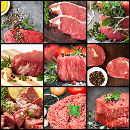assortment: Collection of raw beef images.  Includes herbs and spices.