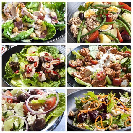 tandoori chicken: Salads food collage.  Includes Caesar, nicoisse, pork, chicken tandoori, Greek, and beetroot with walnut.