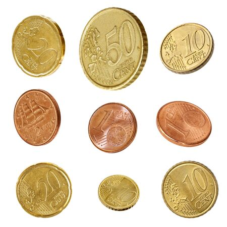 20 euro: Euro coins collection, isolated on white.  Angled one, two, five, ten, twenty and fifty Cent coins. Stock Photo