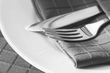 monotone: Cutlery with napkin.  Monotone.