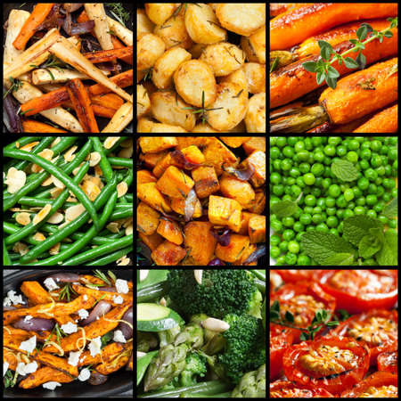 parsnips: Collection of cooked vegetable dishes.  Includes parsnips, carrots, sweet potato, tomatoes, beans, broccoli, asparagus.