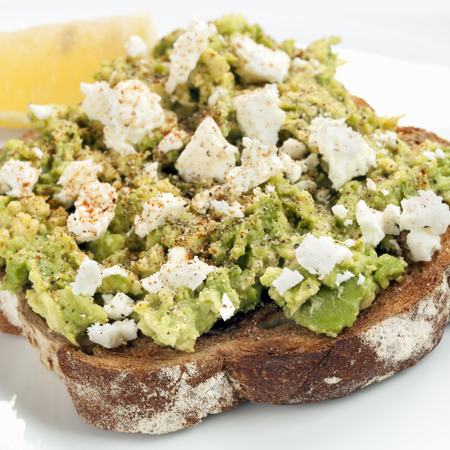 avocado: Smashed avocado and feta cheese on Toast.  With spices and lemon