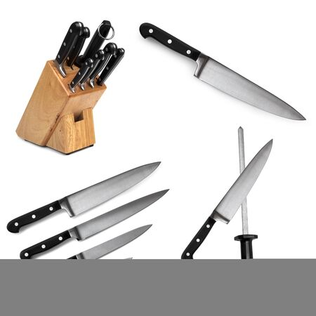 paring: Collection of kitchen knives, isolated on white. Stock Photo
