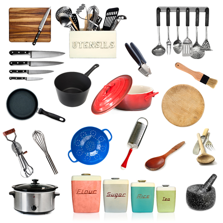Collection of kitchen utensils, isolated on white. Stock Photo