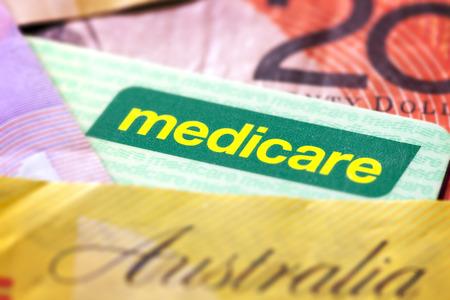 australian money: Australian Medicare card and money.