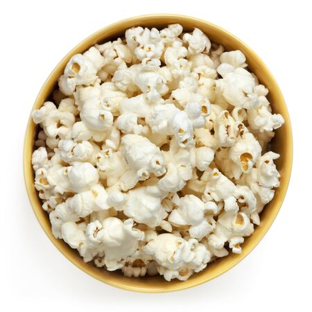 popcorn bowls: Popcorn bowl, top view isolated on white.