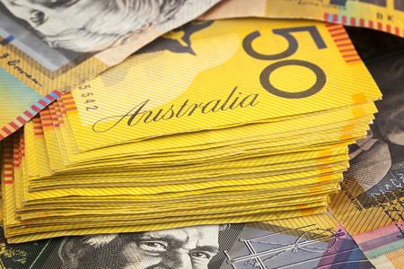 australian dollar notes: Australian money background.  Fifty dollar notes.