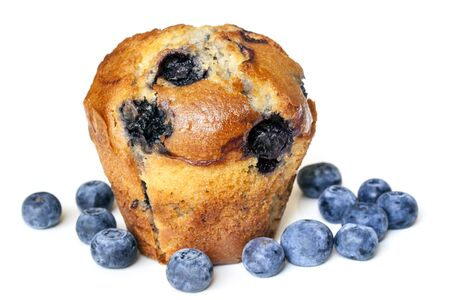 muffin: Blueberry muffin, isolated on white.  With fresh fruit.