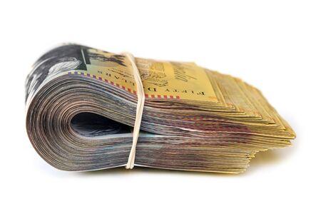 Bündel von Australian Geld isoliert auf weiß. Seitenansicht.