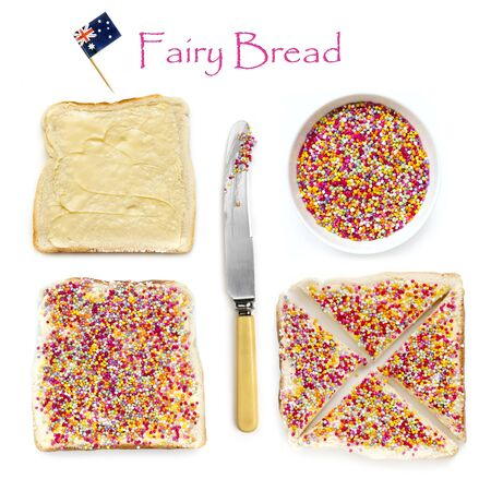 How to make fairy bread, traditional Australian childrens party food.  Hundreds and thousands candy sprinkles on buttered white bread.