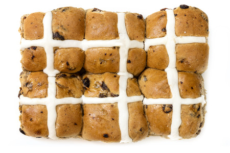 sweet bun: Hot cross buns, isolated on white.  Top view.  Six Easter treats.
