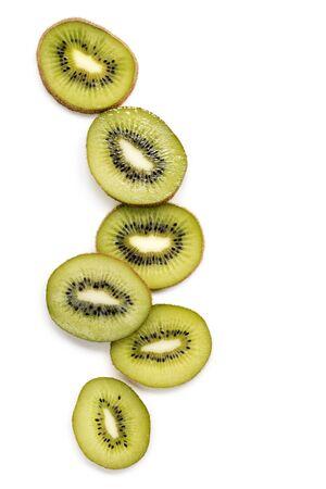 kiwi: Slices of kiwi fruit top view  isolated on white.